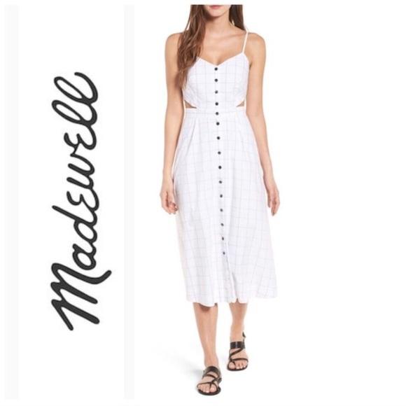 bd7042fe7e5 Madewell Windowpane cutout cami midi dress